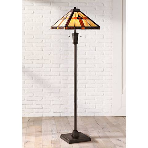 Quoizel Bryant Bronze Patina Tiffany Style Floor Lamp