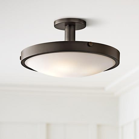 Kichler Lytham Olde Bronze Satin Glass Ceiling Light
