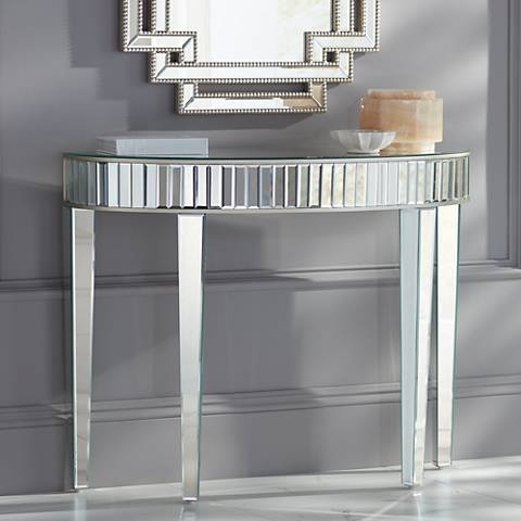 Liska Mirrored Demilune Console Table