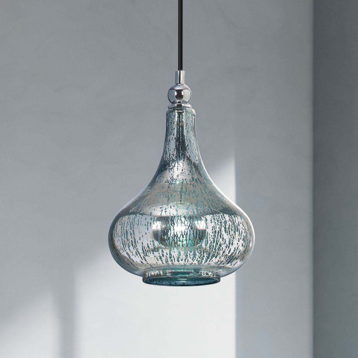 norbello one light bluegreen mercury glass mini pendant