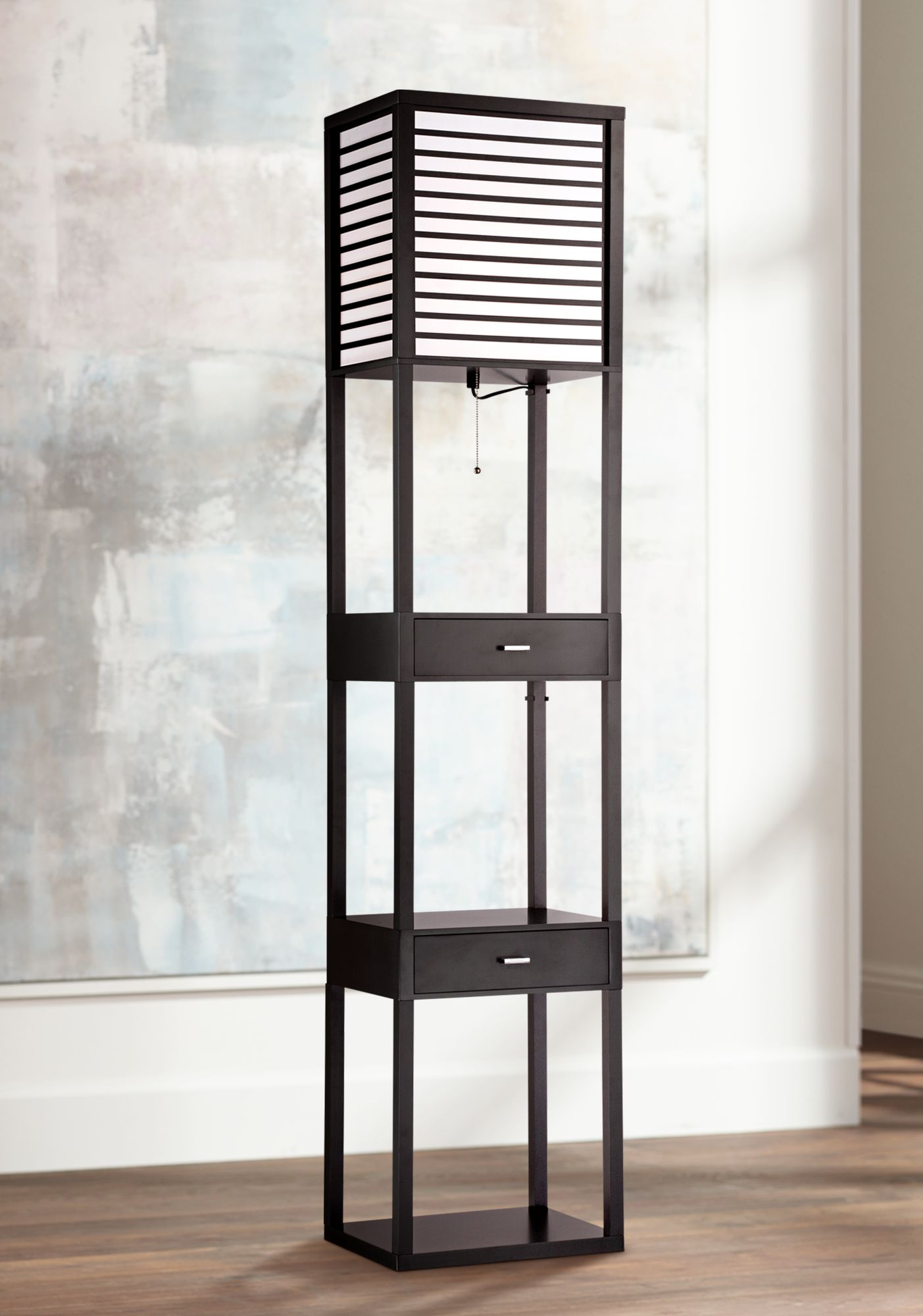 Good Tamber Etagere Floor Lamp With Shelf And Drawers