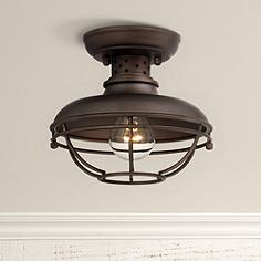 Franklin Park Metal Cage 8 1 2 Wide Outdoor Ceiling Light
