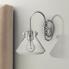 hinkley congress 11 14 high clear glass chrome wall sconce