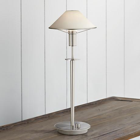 Holtkoetter Satin Nickel True White Glass Shade Desk Lamp