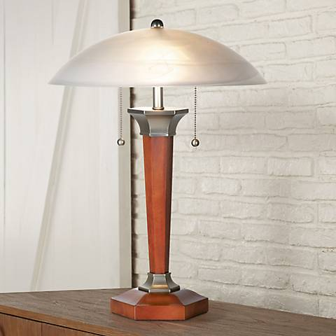 Walnut And Nickel Deco Dome Table Lamp