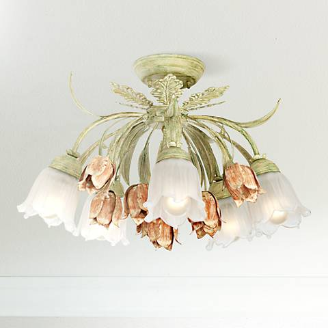 "Parisian Flower Semi-Flushmount 22"" Wide Ceiling Light"