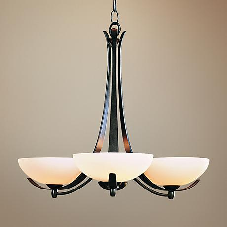 Hubbardton Forge Dark Smoke Opal Three Light Chandelier