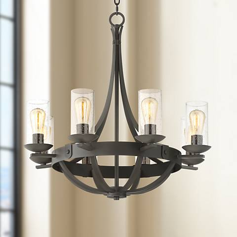 "Rondeau 28"" Wide Bronze 8-LED Chandelier"