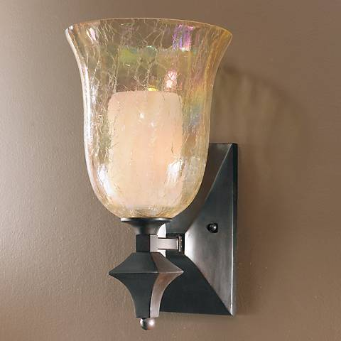 "Elba Collection Iridescent Glass 15"" High Wall Sconce"