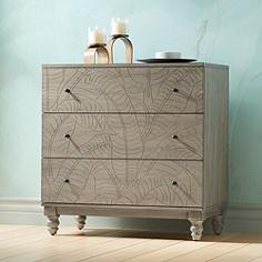 Antique Gray Pine Banana Leaf 3-Drawer Accent Chest