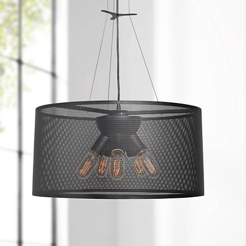 "Epic 19 3/4"" Wide Black 5-Light LED Pendant Light"