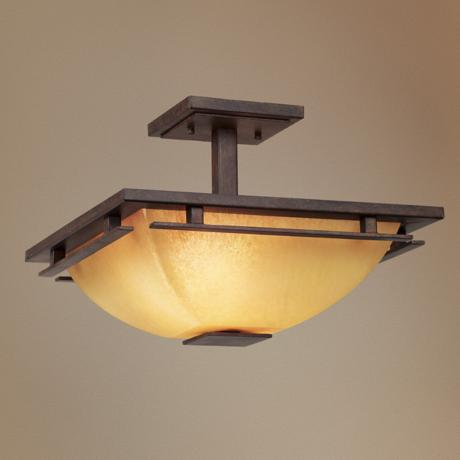 "Lineage Collection Mission 15 1/2"" Wide Ceiling Light"
