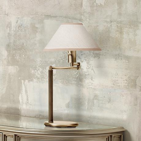 Home Office Swing Arm Antique Brass Desk Lamp