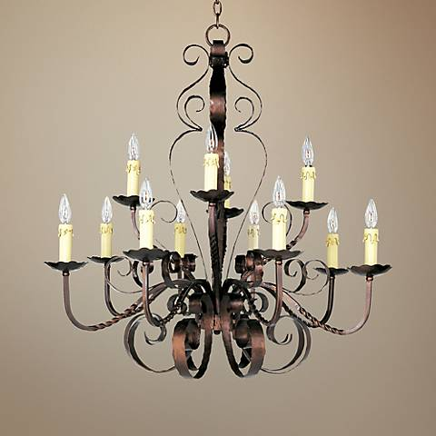 "Aspen Collection 36"" Wide Two-Tiered Wrought Iron Chandelier"