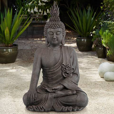 "Sitting Buddha 42"" High Gray Ceramic Indoor-Outdoor Statue"