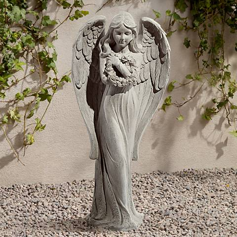 "Standing Angel 25"" High Faux Sandstone Indoor-Outdoor Statue"