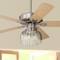 "52"" Windstar II™ Brushed Steel and Crystal Ceiling Fan"