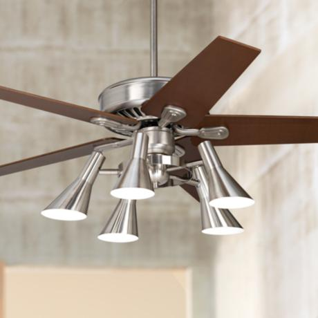 "52"" Windstar II Brushed Steel with Walnut Ceiling Fan"