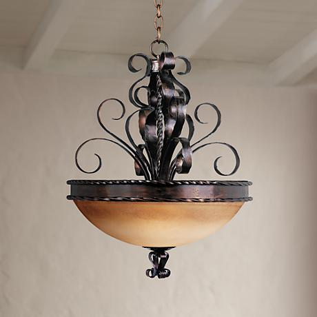 "Aspen Collection 24"" Wide Pendant Bowl Chandelier"