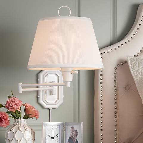 White Swing Arm Plug-in Wall Lamp by Barnes and Ivy