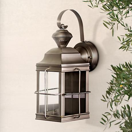 "Carriage Nickel 14 3/4"" High Motion Sensor Outdoor Light"