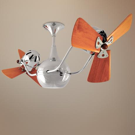 "42"" Matthews Vent Bettina Chrome and Wood Ceiling Fan"