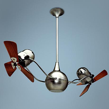 "44"" Matthews Vent Bettina Dual-Head Nickel Ceiling Fan"