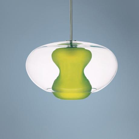 "George Kovacs Apple Green Glass 16 3/4"" Wide Pendant Light"