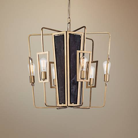 "Varaluz Madeira 25"" Wide Rustic Gold 6-LED Chandelier"