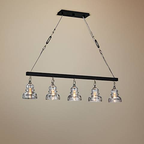 "Menlo Park 44 1/2""W Deep Bronze 5-Light Island Chandelier"