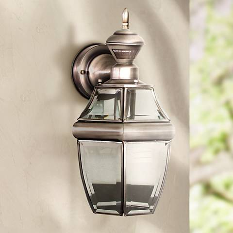 "Antique Silver 14 1/2"" Dusk to Dawn Motion Sensor Wall Light"