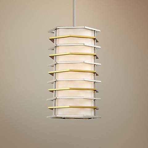 "Levels 10""W Polished Nickel and Honey Gold LED Mini Pendant"