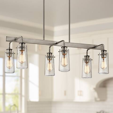 "Braelyn 34"" Wide Classic Pewter 6-Light Island Chandelier"