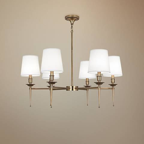 "Robert Abbey Cedric 34 1/4""W Warm Brass 6-Light Chandelier"