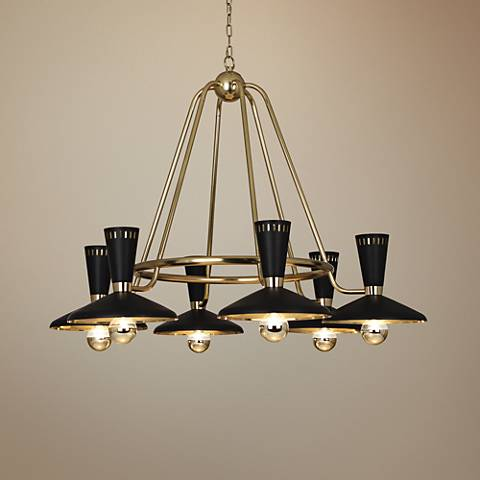 "Vortex 46 1/4""W Modern Brass and Black 6-Light Chandelier"