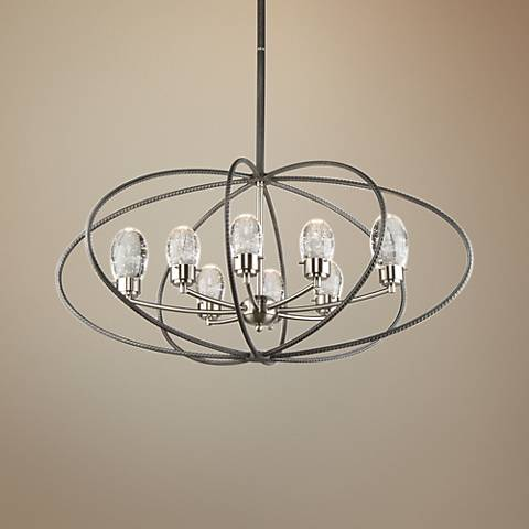 "Kingsford 36"" Wide Slate and Brushed Nickel 8-LED Pendant"