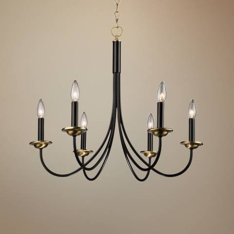 "Wrought Iron 25""W Black and Vintage Brass 6-Light Chandelier"