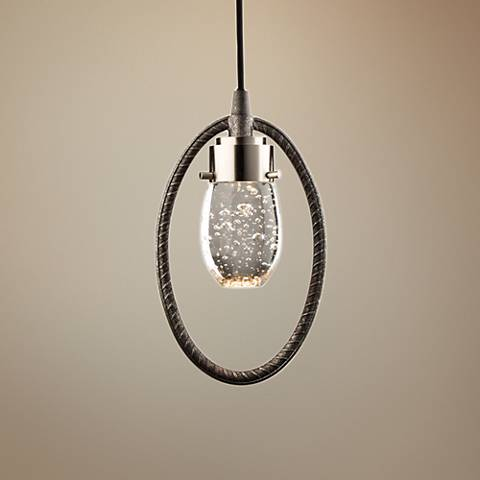 "Kingsford 6"" Wide Slate and Brushed Nickel LED Mini Pendant"