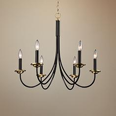 Wrought Iron 25 W Black And Vintage Brass 6 Light Chandelier