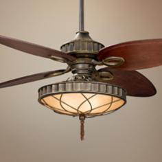 "56"" Fanimation Bayhill Venetian Bronze Lighted Ceiling Fan"