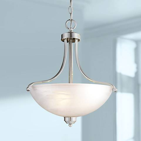 "Paradox 18"" Wide Brushed Nickel Pendant Chandelier"