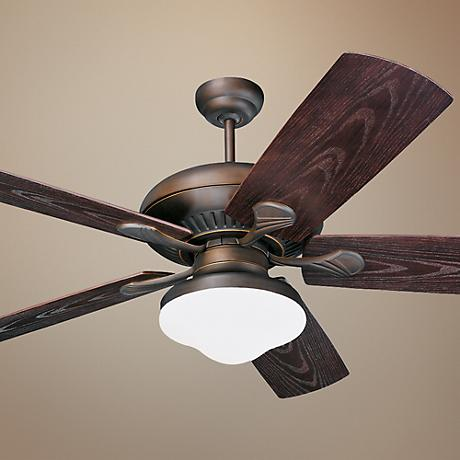 "54"" Monte Carlo Shores Bronze Outdoor Ceiling Fan with Light"