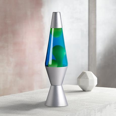 Blue and Yellow Lava with Silver Base - Official Lava® Lamp