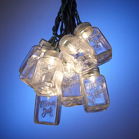 10-Light Mason Jar Clear Indoor-Outdoor String Light Set