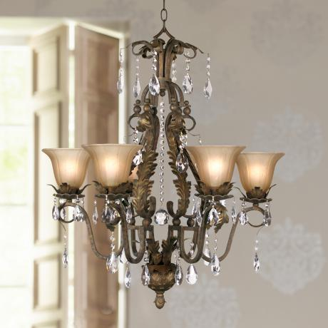 "Iron Leaf 29"" Wide Bronze and Crystal Chandelier"