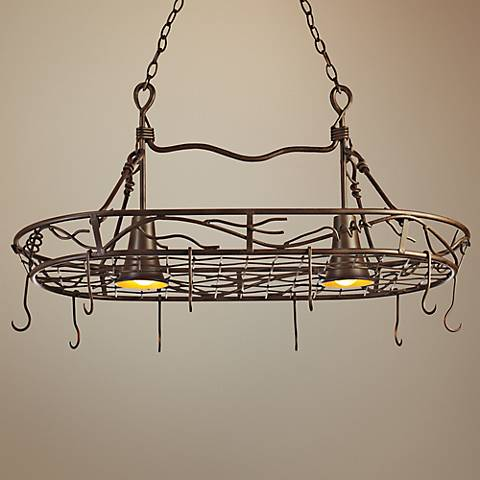 "Hand-Twisted 36"" Wide Vine Pot Rack Chandelier"