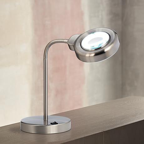 Brushed Steel Gooseneck Magnifier Desk Lamp