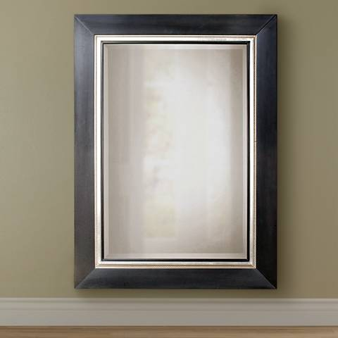 "Uttermost Whitmore 54"" x 40"" Black Silver Leaf Large Mirror"