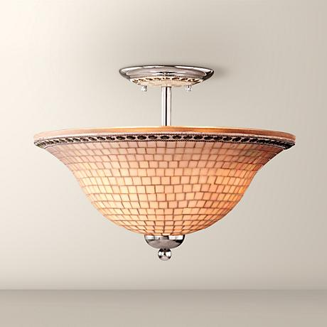 "Minka Chrome Mosaic 16"" Wide Ceiling Light Fixture"