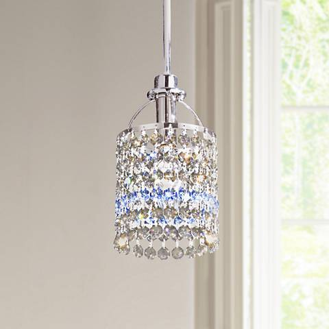 Echo Teak and Sapphire Crystals Mini Pendant Chandelier